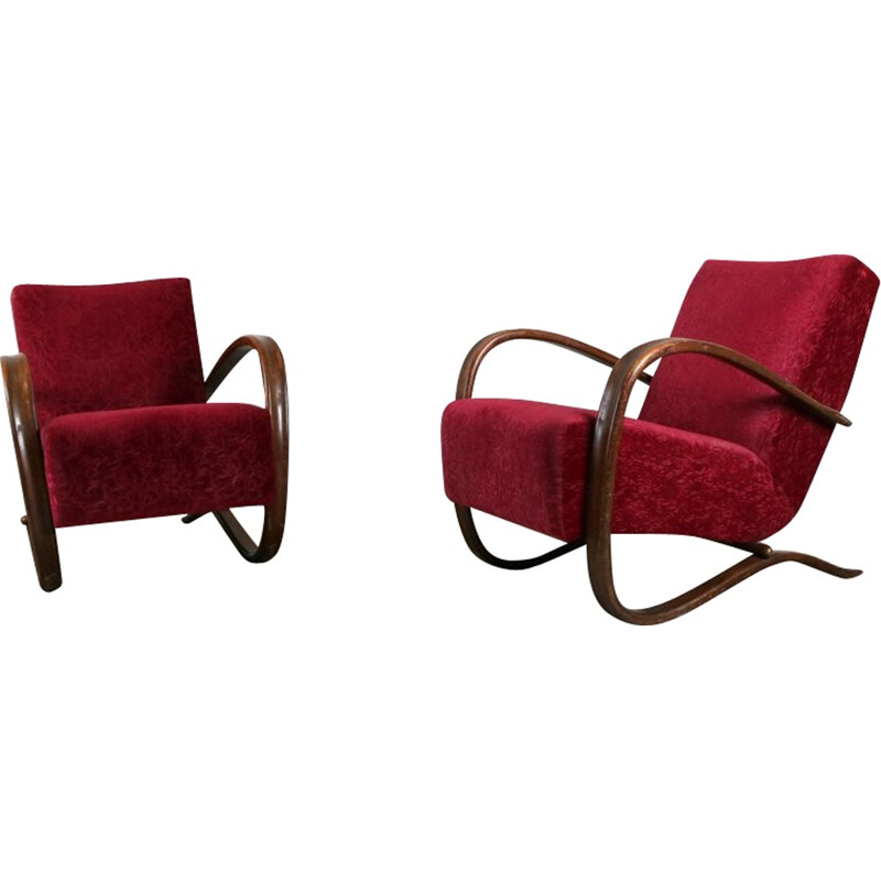 Red pair of armchairs by Jindrich Halabala - 1940s