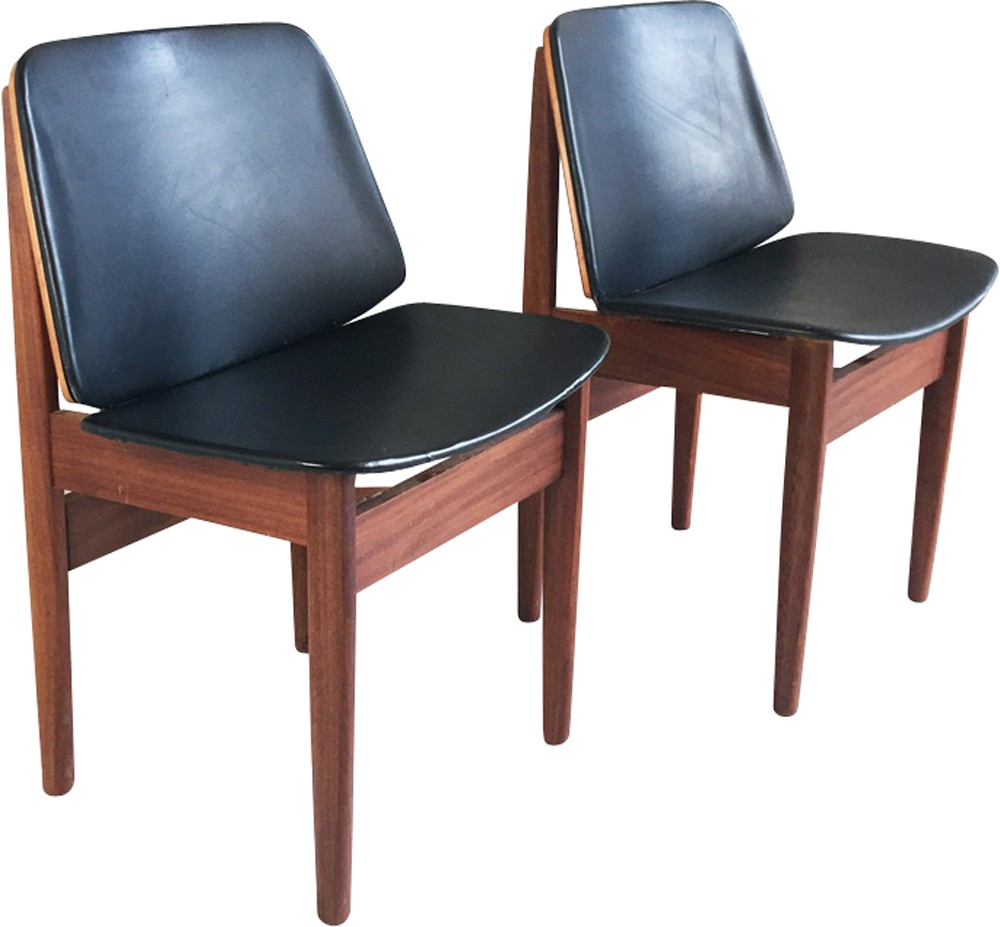 Set Of 6 Mid Century Teak And Vinyl Dining Chairs For