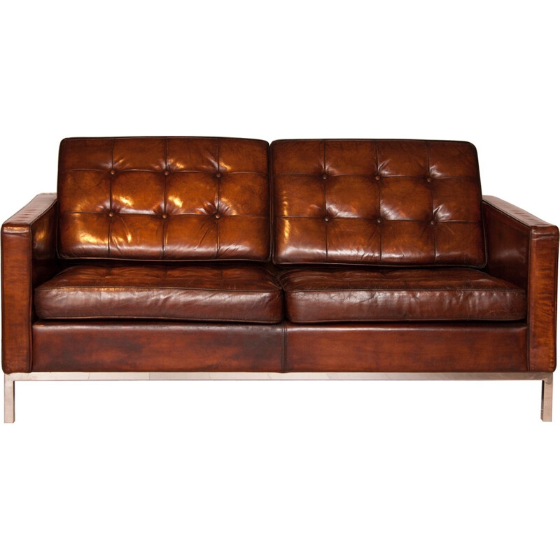 Mid century brown leather sofa, by Florence Knoll - 1954