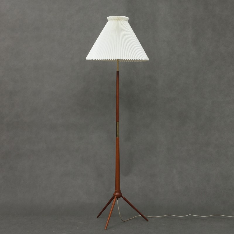 Teak tripod floor lamp with large Le