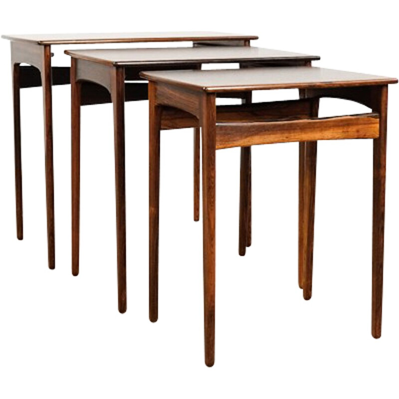 Set of 3 vintage nesting tables in rosewood - 1960s