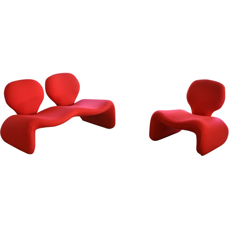"""Djinn"" set of sofa & armchair by Olivier Mourgue for Airborne - 1970s"