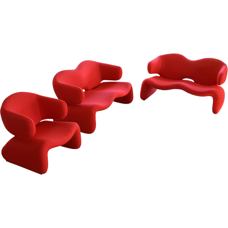 Set of Djinn Sofas & Armchair by Olivier Mourgue for airborne - 1970s