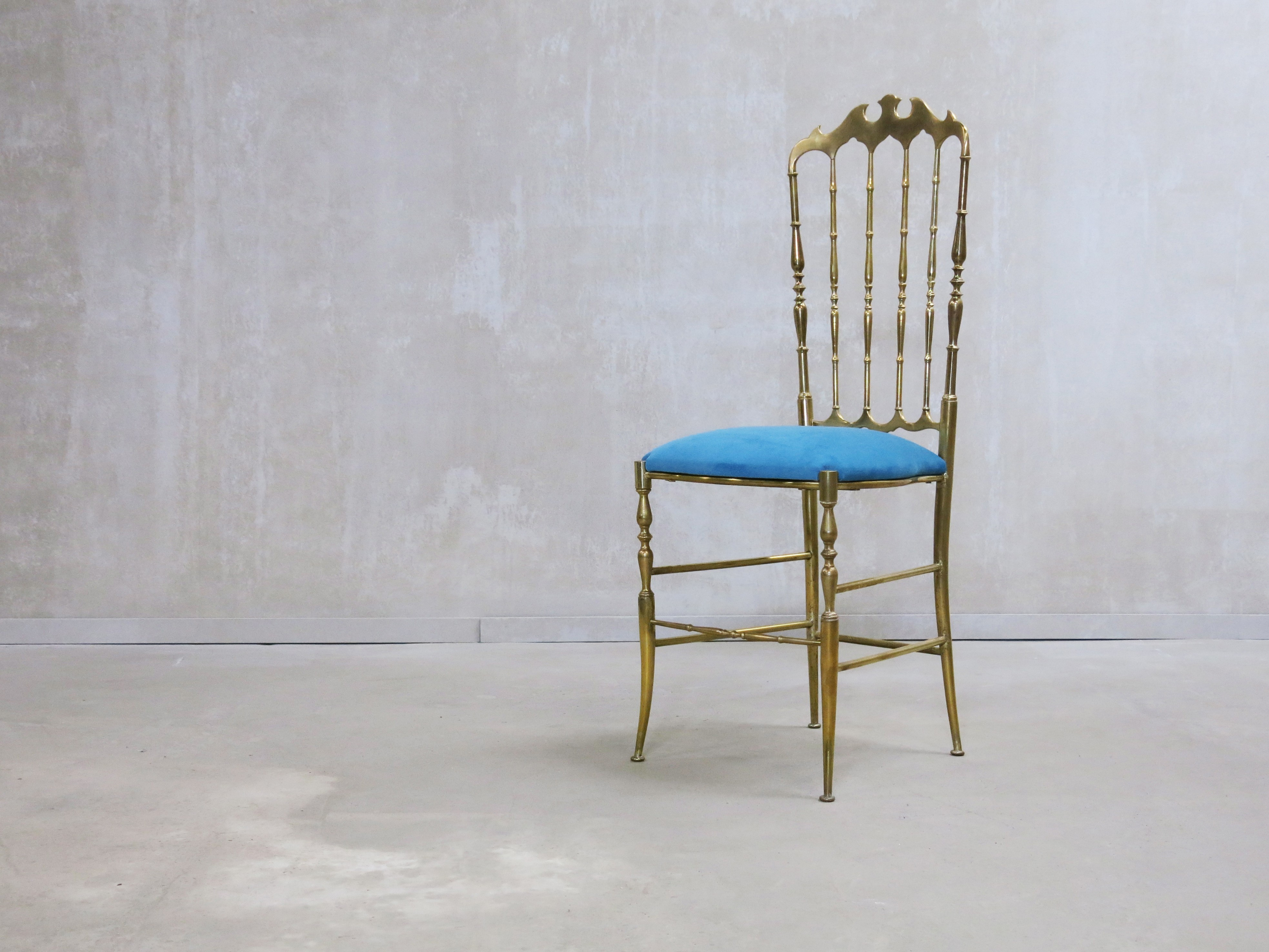 Vintage Italian Chiavari in Solid Brass Chair with High Back