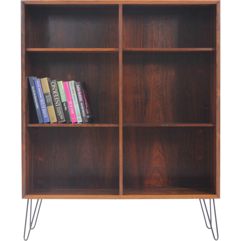 Vintage bookcase in rosewood with iron legs - 1960s