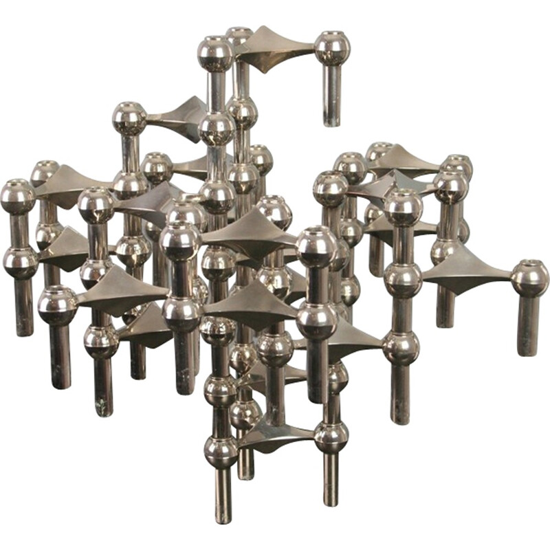 Set of 20 modular candleholders by Nagel - 1970s