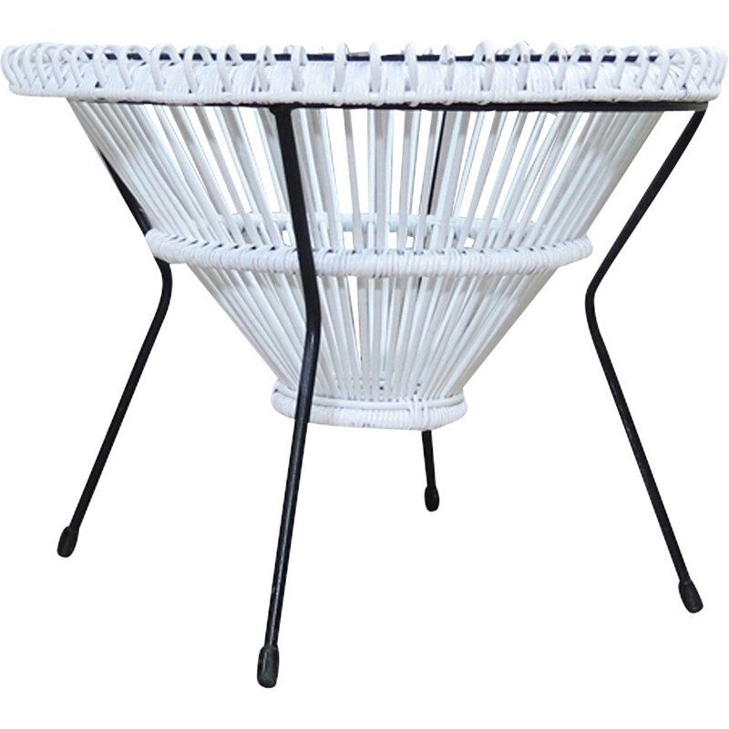 White Lacquered Rattan Coffee Table by Franco Albini - 1950s