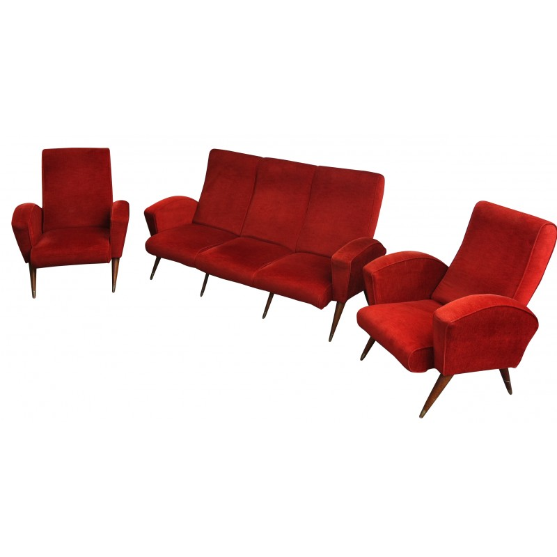 Amazing Red Living Room Set With Sofa And Armchairs 1950S Uwap Interior Chair Design Uwaporg