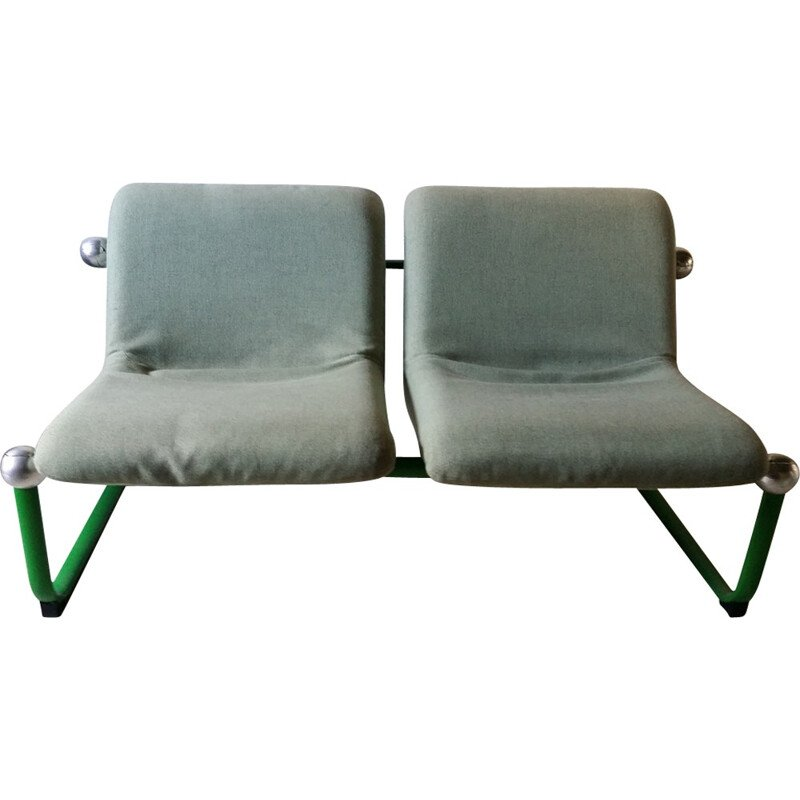 Vintage 2-seater bench in metal and green fabric - 1960s