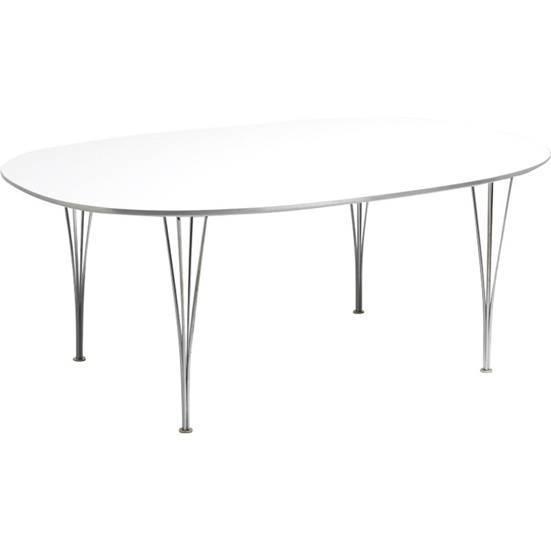 Vintage white dining table by Piet Hein for Fritz Hansen - 1970s