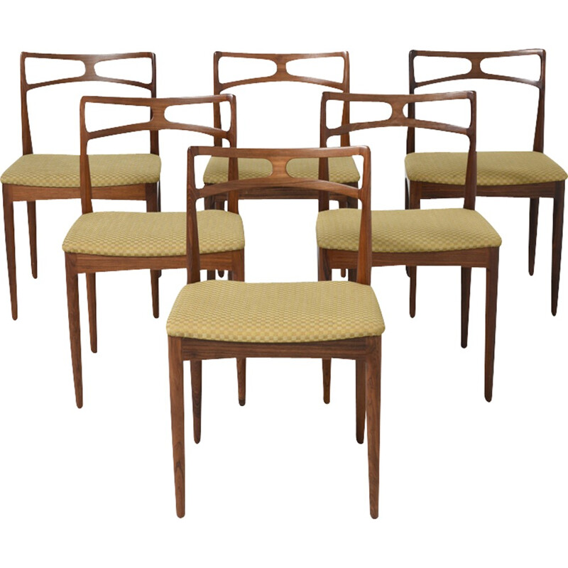 Set of 6 vintage chairs in rosewood by Johannes Andersen for Christian Linneberg - 1960s