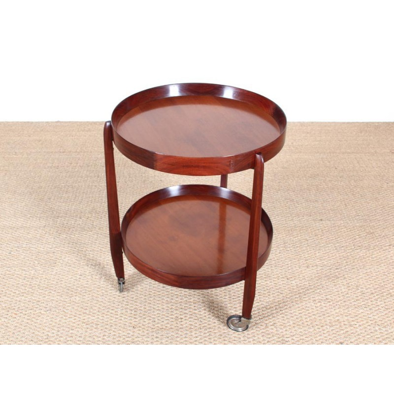 Teak Serving Table With Double Tray On Wheels By Uno Kristiansson 1950s Design Market
