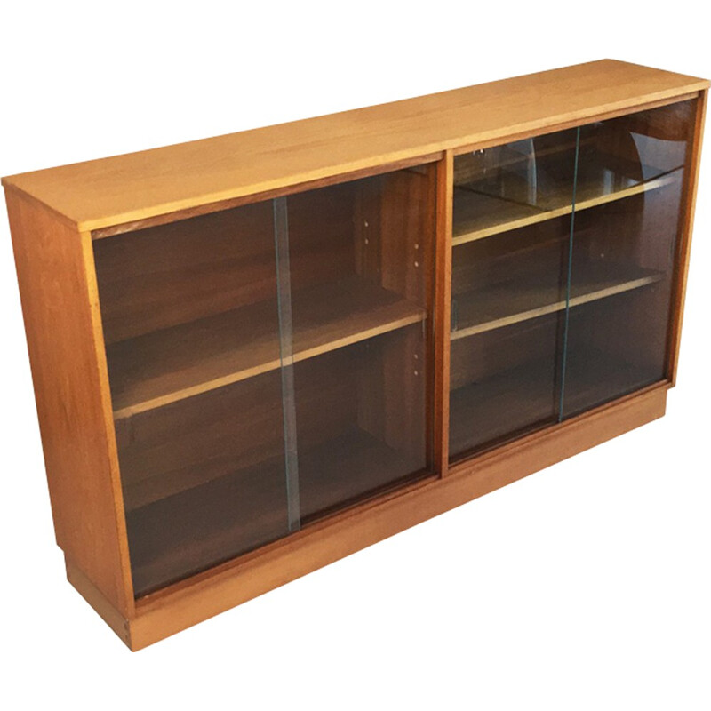 Beech long and low book case with glass sliding doors for Morris of Glasgow - 1970s