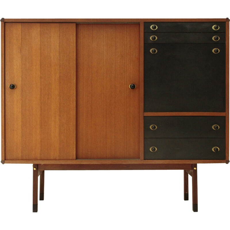 Italian Highboard with Wood and Brass Knobs - 1960s