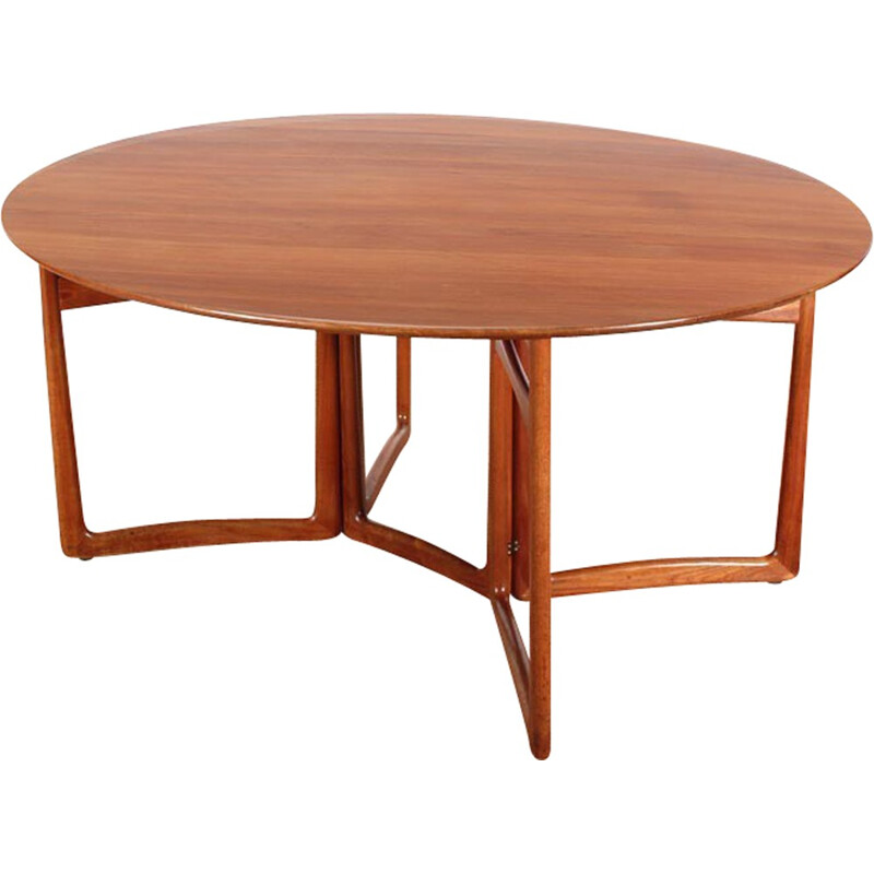Scandinavian dining table with solid teak flap for 6-8 people by Peter Hvidt and Orla Mølgaard Nielsen - 1960s