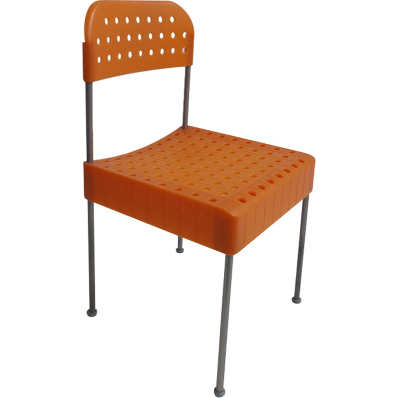 """Vintage """"Box"""" Chair in orange plastic by Enzo Mari for Aleph - 1980s"""