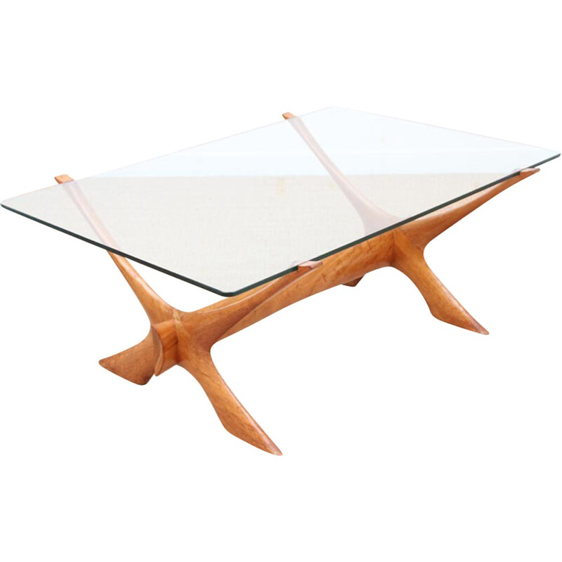 Vintage Scandinavian Coffee Table in mahogany and glass - 1950s