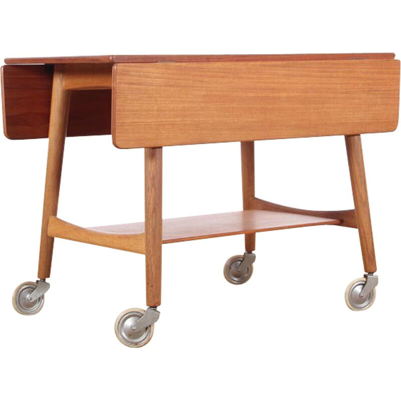 Vintage side table on wheels by Hans Wegner for Andreas Tuck - 1950s