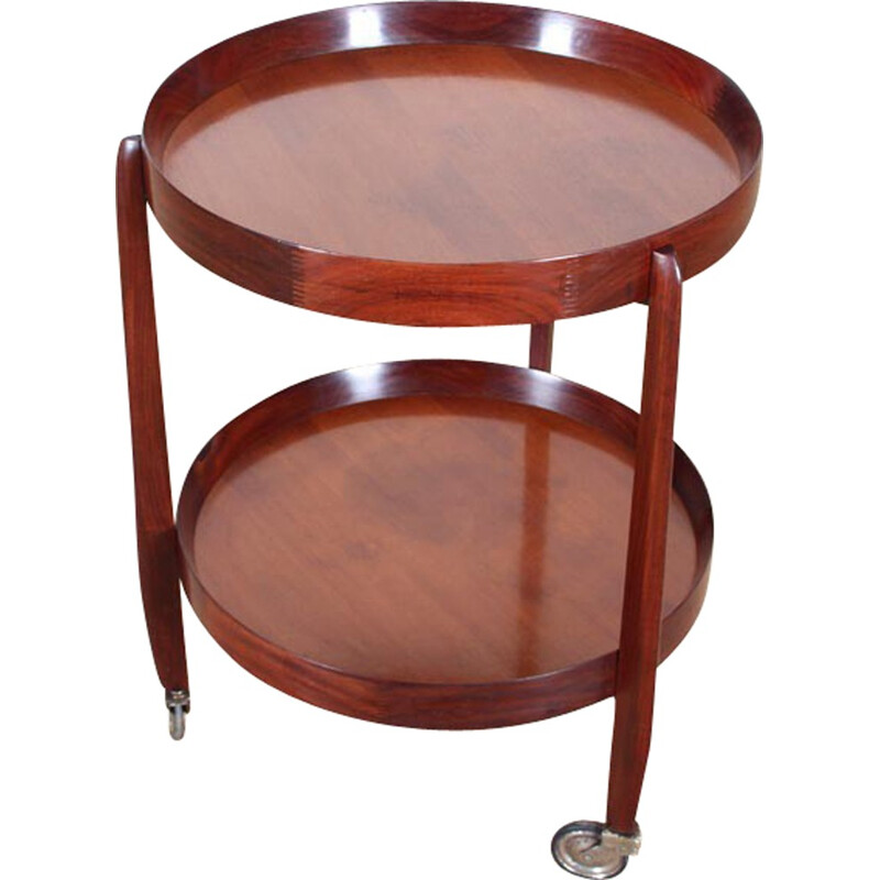Teak serving table with double tray on wheels by Uno Kristiansson - 1950s