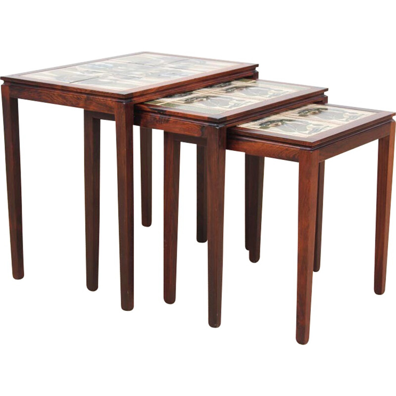 Set of 3 nesting tables made of Rio rosewood and ceramic - 1950s