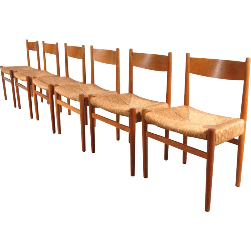Set of 6 Dining Chairs vintage by Hans J. WEGNER - 1950s