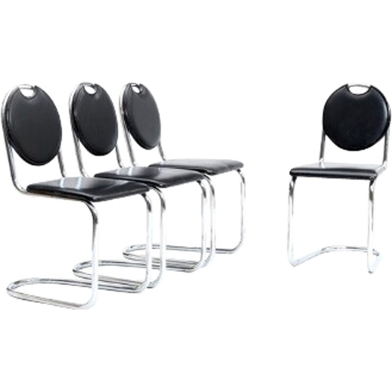 Set of 4 Chromed and leather Chairs, Bauhaus by Sven Markelius - 1940s