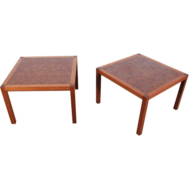 Pair of square Scandinavian coffee tables made of marquetry by Rolf Middelboe & Gorm Lindum - 1970s