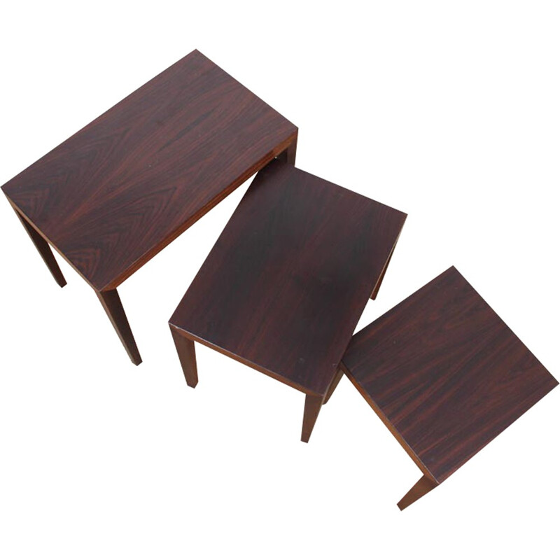 Suite of 3 Mahogany Nesting Tables by Severin Hansen - 1960s