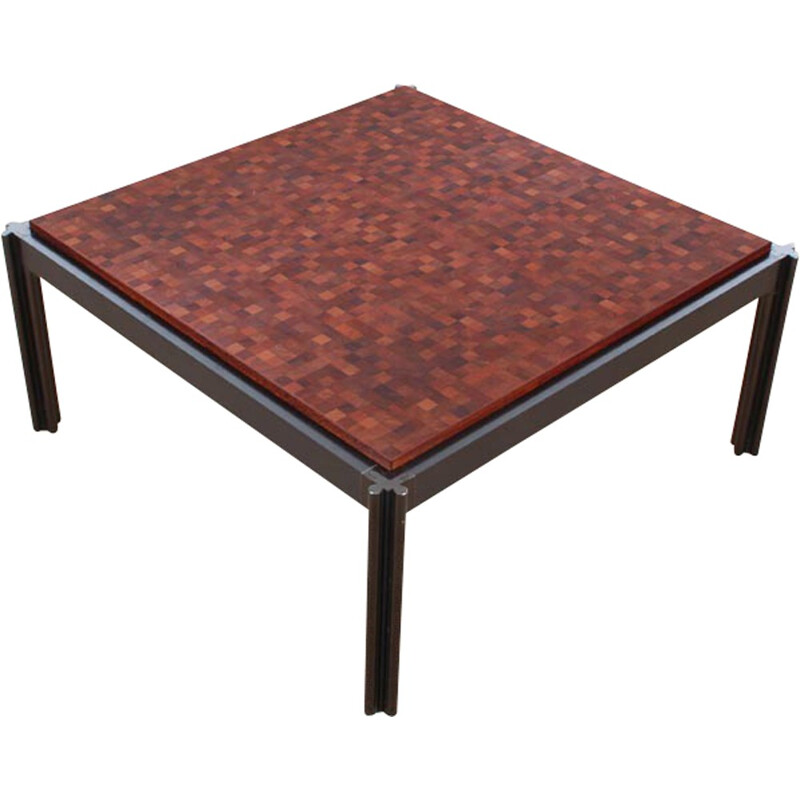 Square coffee Table made of marquetry by Rolf Middelboe & Gorm Lindum for Tranekaer Furniture - 1970s