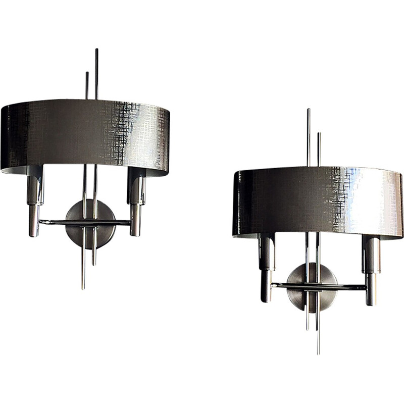 Pair of metal wall lamp by Gaetano Scolari - 1970s