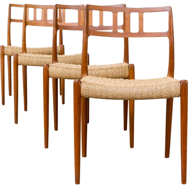 Set of 4 model 79 chairs by  Niels Otto Møller for J.L Moller - 1960s