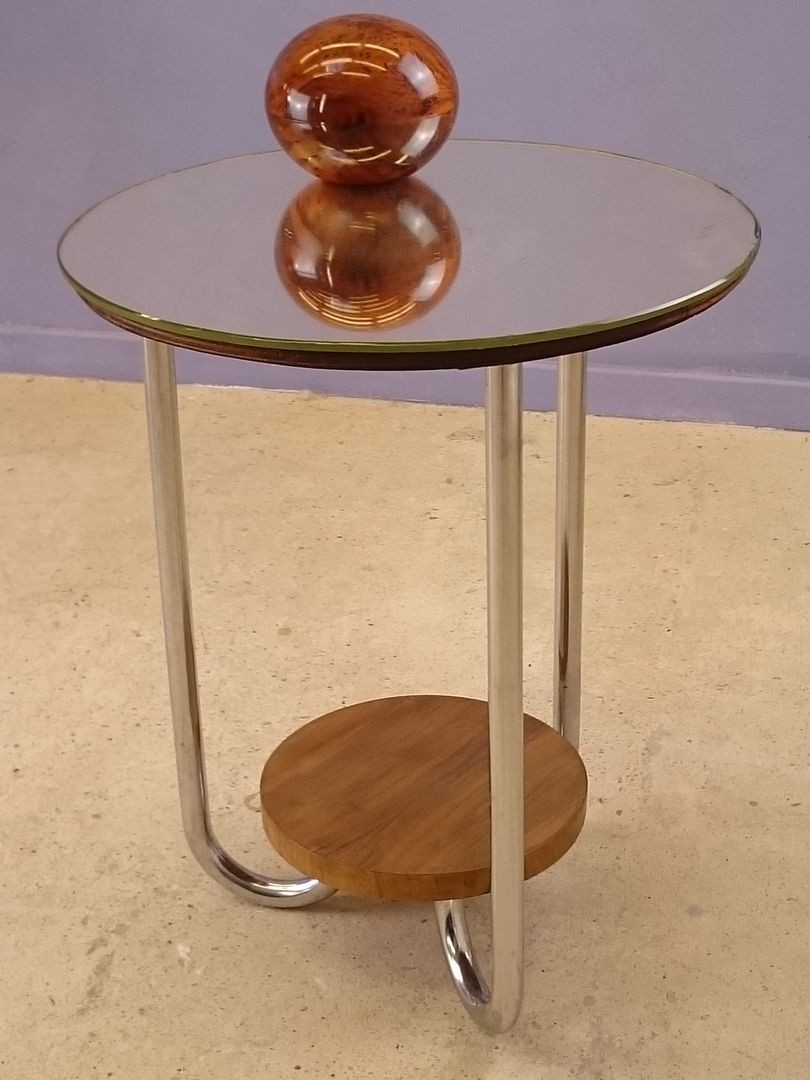 Side table vintage with mirror top by René Herbst - 1930s - Design ...