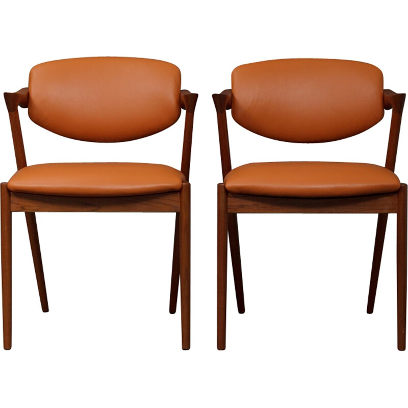 Pair of teak camel leather chairs by Kai Kristiansen - 1960s