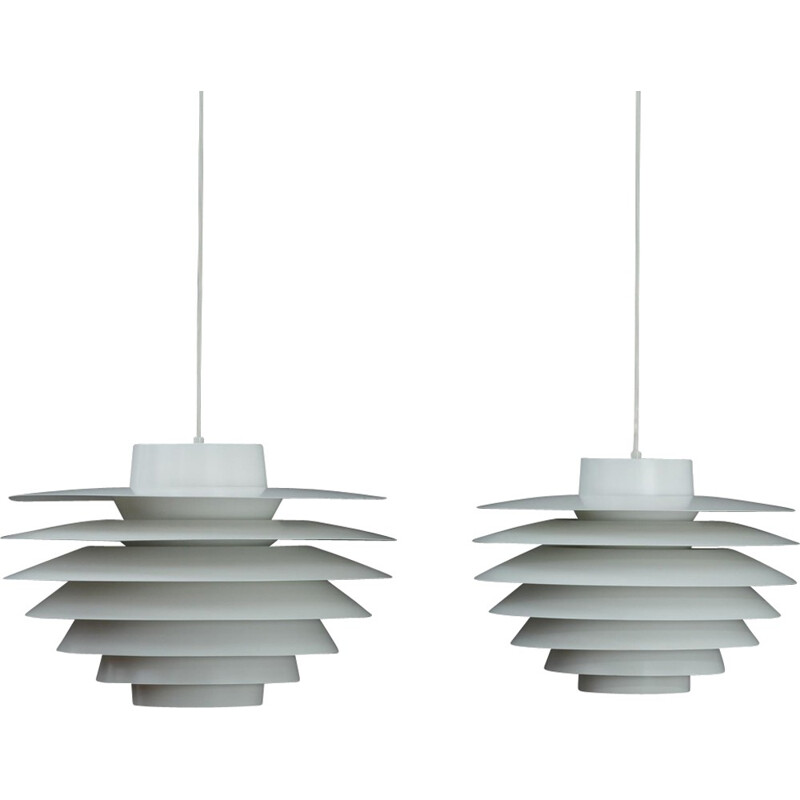 "Pair of vintage ""Verona"" hanging lamps by Svend Middelboe for Nordisk Solar - 1960s"