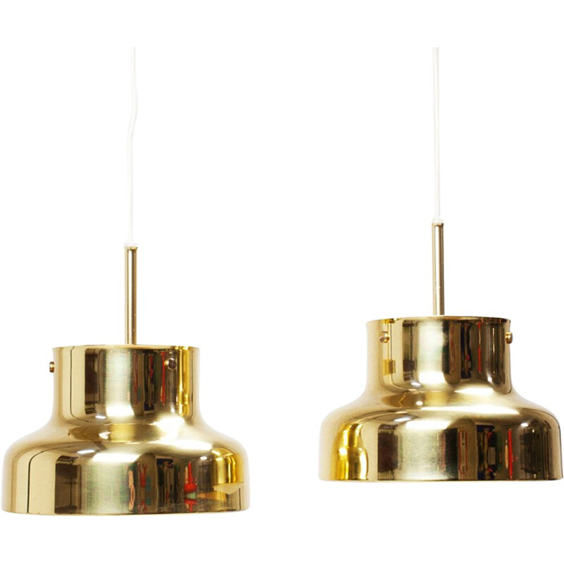 Pair of Bumling hanging in lamps in brass by Anders Pehrson - 1960s