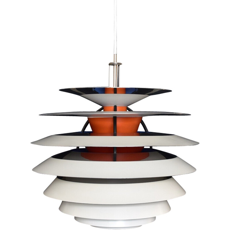 """White """"PH Contrast"""" hanging lamp by Poul Henningsen for Louis Poulsen - 1950s"""