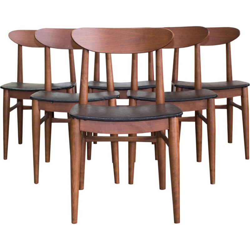 Set of 6 Danish teak vintage dining chairs - 1960s