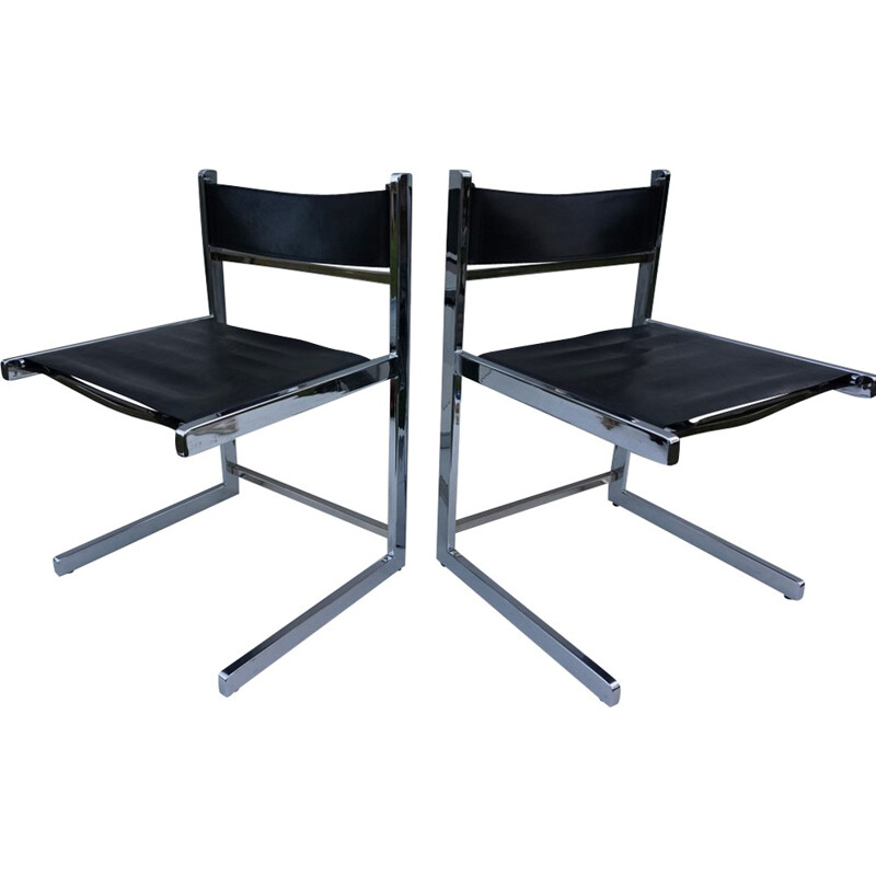 Set of 2 cantilever metal and leather chairs by Willy Rizzo and Milo Baughman - 1970s