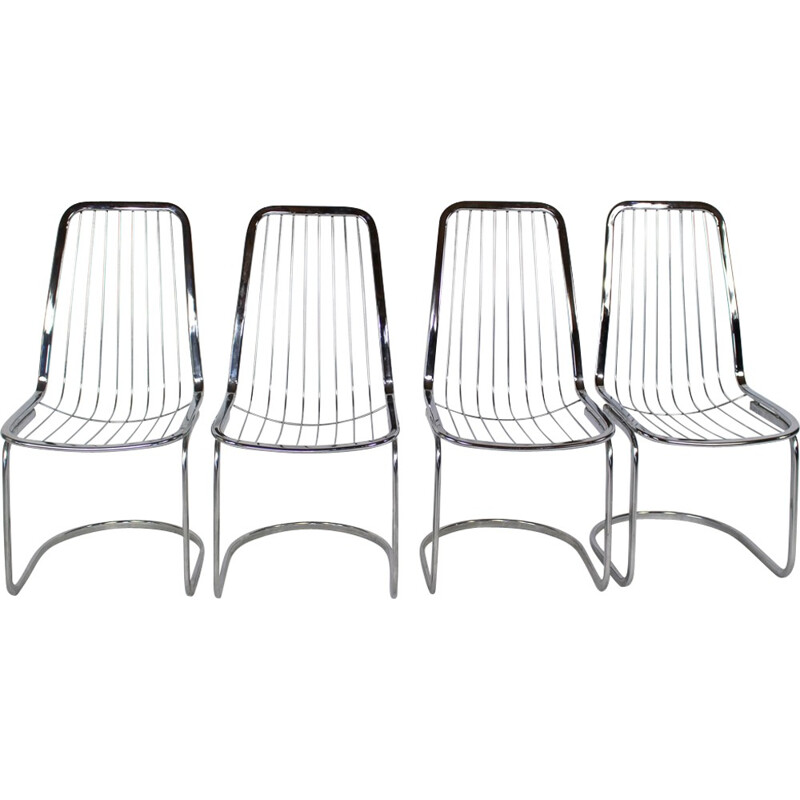 Set of 4 Industrial Chairs Chrome - 1990s