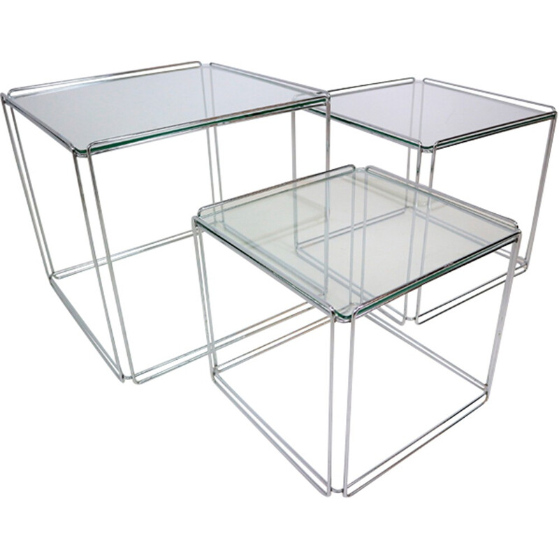 """Set of 3 chrome nesting tables """"Isocele"""" by Max Sauze - 1970s"""