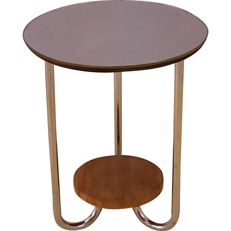Side table vintage with mirror top by René Herbst - 1930s