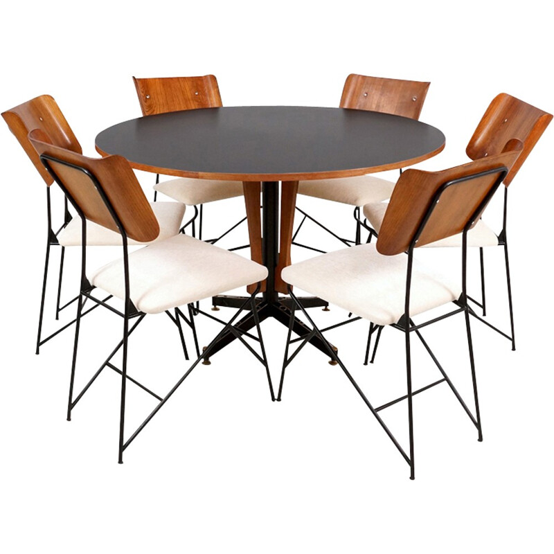 Set of 6 Italian Dining Chairs by Carlo Ratti - 1950s