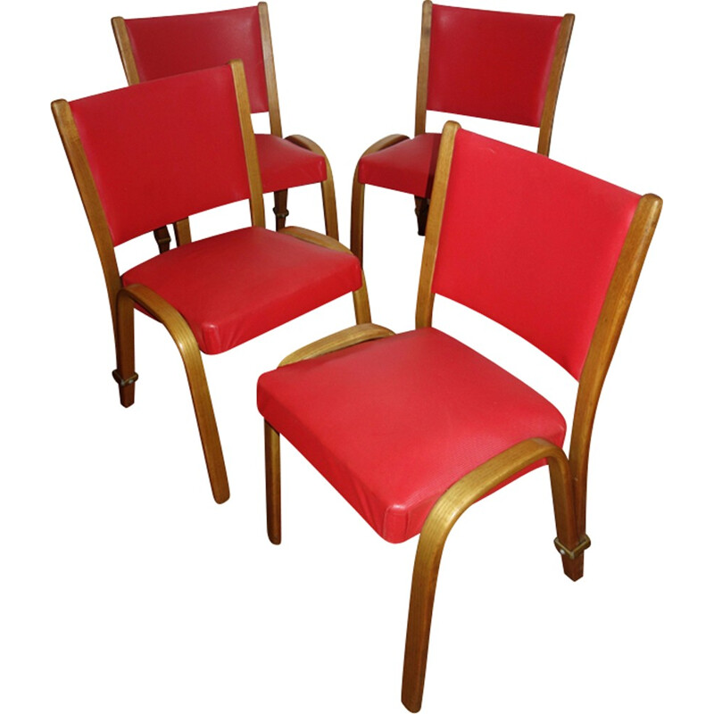 "Suite of 4 ""Bow wood"" chairs by Hugues Steiner - 1950s"