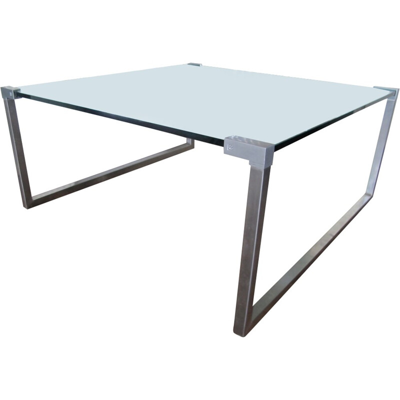 Vintage Steel and Glass Coffee Table by Peter Ghyczy - 1970s