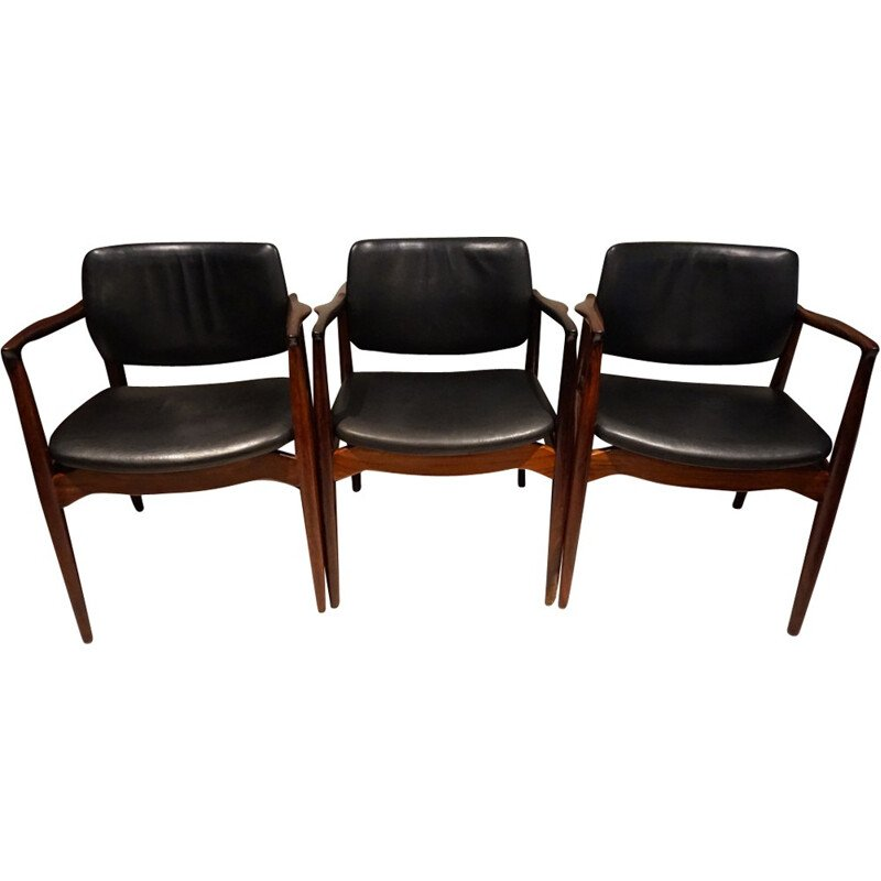 Scandinavian Armchairs made of Rio rosewood and leather by Ib Kofod Larsen - 1970s