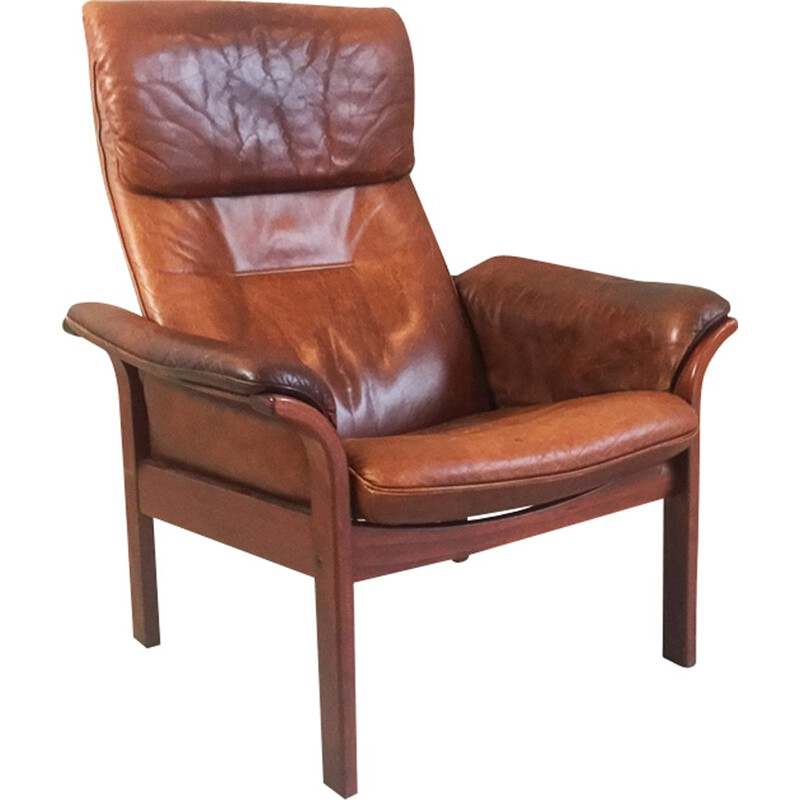 Vintage brown leather armchair by G Mobel - 1960s