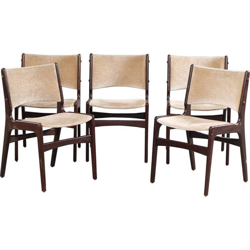 Set of 5 vintage dining chairs in solid teak and in velvet - 1950s