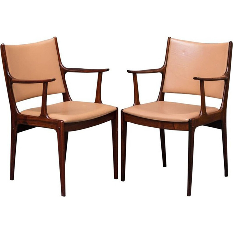 Pair of armchairs in rosewood and brown leather by Johannes Andersen for Uldum Mobel - 1960s