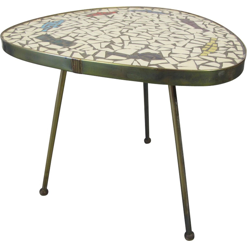 Vintage Mosaic and Brass Side Table - 1950s