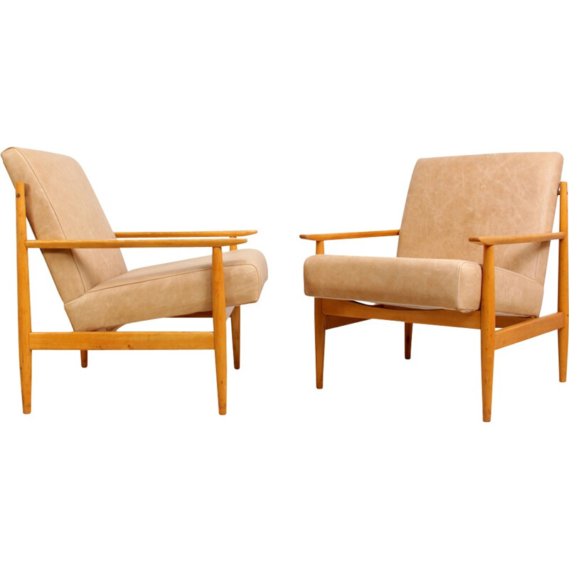 Pair of Mid Century Leather Armchairs - 1960s